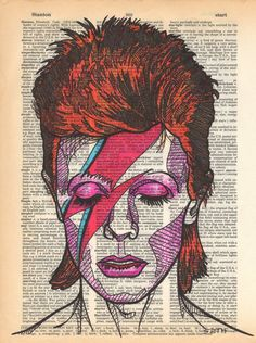 artist David Bowie drawn on an aged and yellowed dictionary page with the term stardust on it Portrait done of his iconic character Ziggy Stardust This was created with colored pens as a tribute to the late rocker - drawings David Bowie Poster, David Bowie Art, David Bowie Tattoo, Pop Art, Performance Artistique, Art Visage, Rock Poster, Davy Jones, Ziggy Stardust