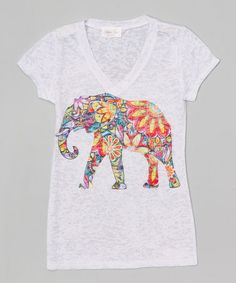 Look at this #zulilyfind! White Elephant V-Neck Tee - Girls #zulilyfinds