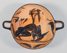 """Lesson 2: """"Drinking cup (kylix) depicting Herakles wrestling the Nemean lion"""" (530-510 B.C.) by unknown artist"""