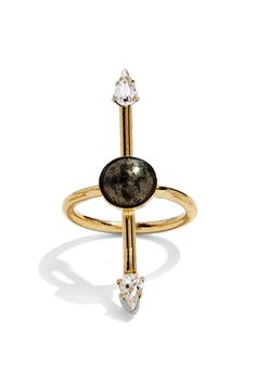 Either/Or Ring in Gold with Pyrite and Swarovski Crystal | Lady Grey Jewelry | Sale: $118