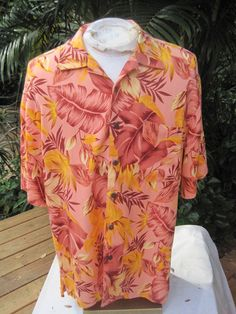 HAWAIIAN Aloha SHIRT L pit to pit 25 CARIBBEAN JOE Rayon tropical foliage #SeeDescription #Hawaiian