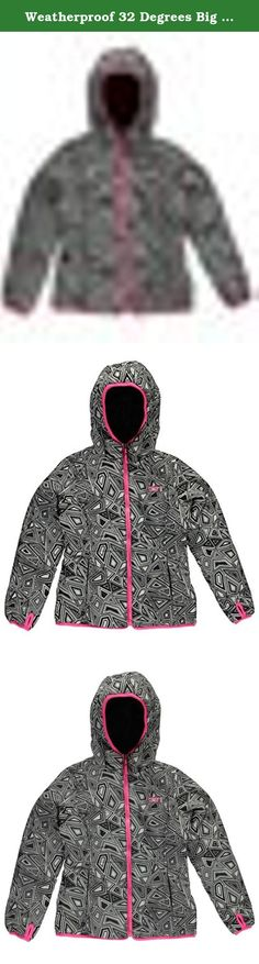 Weatherproof 32 Degrees Big Girls' Monkey Fleece System Jacket, Reversible Black/White Print, 10/12. One jacket is dewspo and monkey fleece, the other is dewspo on one side with poly fill and monkey fleece on the reverse side.