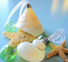 2pc Shell Christmas Ornaments for Beach Decor  - Nautical Decor Seashell Ornaments, 2pc