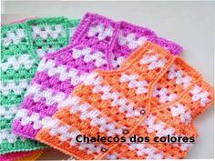 Para hacer éstos chalecos necesitamos Talle 2 Aguja de crochet N° 4 70 grs color (lila, naranja, verde o el color que desees) 80 grs blanco Punto empleado 3 var. 2 cad. ver el link para las medidas  http://tejemostodo.com/grafica-para-tomar-medidas/  Sacamos la medida de B Usamos 2 veces la medida de B Tejemos el …