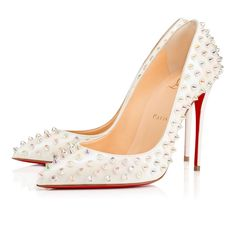 Follies Spikes 100 White Aurora Boreale/Clear Aurora Boreale Patent Aurora Boreale - Women Shoes - Christian Louboutin