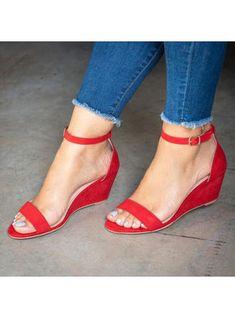Plain Ankle Strap Peep Toe Date Travel Wedge Sandals - Women Shoes Trendy Womens Shoes, Womens Shoes Wedges, Womens High Heels, Ankle Strap Wedges, Peep Toe Wedges, Ankle Straps, Red Wedges, Vestidos Fashion, Frauen In High Heels