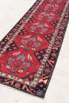 1930's Vintage Antique Persian Heriz Rug Runner by WovenInVintage on Etsy