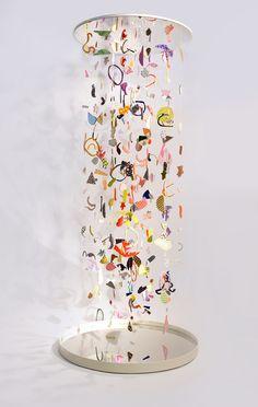 Suspended Confetti A collaborative project by CHIAOZZA x Studio Proba Mixed media installation 4 x 4 x 10' 2016  Suspended Confetti is a hanging sculptural 'infinity-column' created by Terri Chiao and Adam Frezza of CHIAOZZA in colla...