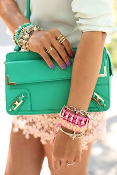 VIVALUXURY - DAISY DAY: Rebecca Minkoff Metal Corner Kelly Green Clutch + Neon Arm Party