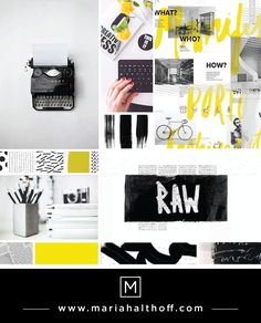 Paint, messy, dynamic, scribbles, writing, black, white and yellow mood board design. Graphic Design.