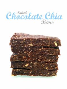 No-Bake Salted Chocolate Chia Bar recipe. A tasty and easy, gluten-free, vegan, and kid-friendly snack with no refined sugar! These will become a household favorite, guaranteed. Healthy Bars, Healthy Sweets, Healthy Baking, Healthy Snacks, Healthy Breakfasts, Eat Healthy, Healthy Life, Vegan Desserts, Raw Food Recipes
