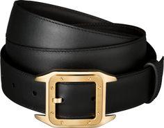 Santos 100 belt Black cowhide, golden-finish buckle