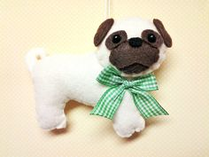 Felt Pug Ornament Personalized Ornament by BeckyLynnCreations