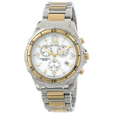 Citizen FB1354-57A Women's Eco-Drive White Dial Two Tone Steel Chronograph Date Watch,