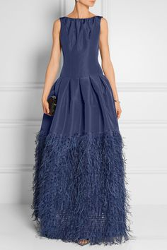 Oscar de la Renta | Feather-trimmed silk-faille gown | NET-A-PORTER.COM