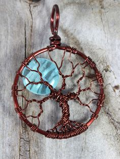 Blue Glow in the Dark Full Moon Tree of Life Pendant Glowing Jewelry Teal Blue Moon Glow Necklace Brown Wire Wrapped Handmade Black Light UV Blue Glow in the Dark Full Moon Tree of Life Pendant Glowing Jewelry Teal Blue Moon Glow Necklace Br Tree Of Life Jewelry, Tree Of Life Necklace, Tree Of Life Pendant, Diy Necklace, Moon Necklace, Diy Earrings, Necklaces, Bracelets, Wire Trees