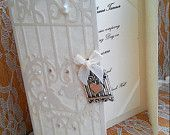 "Vintage Laser Cut Bird Cage Ivory Pearl Wedding Invitation- Sample ""Doretta"""