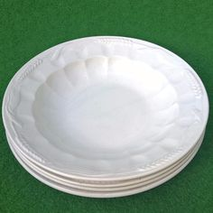 ANTIQUE SOUP PLATE SET MADE IN FRANCE WHITE SHABBY CHIC DEKO TELLER CORN EAR OF