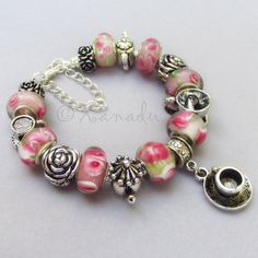 Christmas Sale - Pink Garden Tea Party European Charm Bracelet - Pink Floral Lampwork Glass Beads With Silver Teapot And Teacup Charms