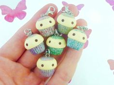 Kawaii Glitter Cupcakes, Polymer Clay Handmade, Cute Gift - Red, Holographic Pink, Gold, Green, Blue, Purple, Silver