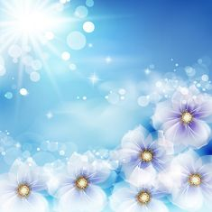 Magical spring floral abstract background with sun light bokeh bubbles – EPS vector.