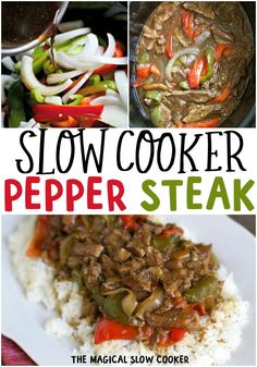 Slow Cooker Pepper Steak s full of tender steak, bell peppers and onions in a Chinese inspired sauce. Great over white or brown rice. Slow Cooker Pepper Steak has tender steak, bell peppers, onions in a Chinese inspired sauce. Pepper Steak Slow Cooker, Slow Cooker Stuffed Peppers, Crock Pot Slow Cooker, Slow Cooker Recipes, Cooking Recipes, Healthy Recipes, Beef Pepper Steak, Pepper Steak And Rice, Easy Steak Recipes