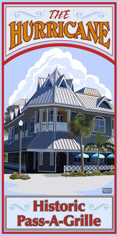 Historic Pass-a-Grille Florida from www.etsy.com/shop/texasposter