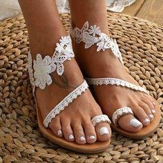 Pure color casual satin pattern slipper – Iount Roman Sandals, Women's Sandals, White Sandals, Dressy Flat Sandals, Floral Sandals, Flower Shoes, Beach Shoes, Beach Sandals, Beach Wedding Sandals