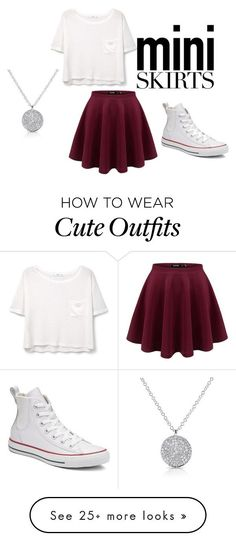 """Mini- skirt outfit"" by kennedi7970 on Polyvore featuring Converse and MANGO"