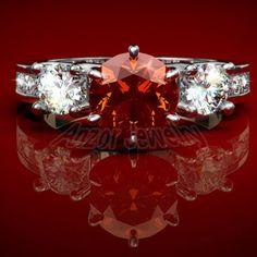 Orange Ceylon Sapphire Diamond Gold Ring 14k