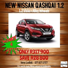 NEW NISSAN QASHQAI VISIA + ALLOY WHEELS Call 0716712177 *Estimated installment:  R5,500pm 35% Balloon 13% interest rate 72 months *T's and C's Apply *While stocks last