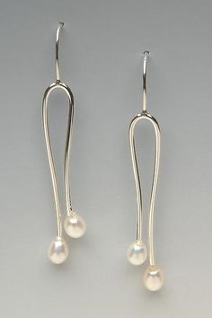 double pearl earrings: lonna keller: silver & pearl earrings - artful home