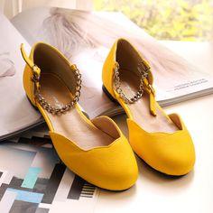 flat shoes with round head-ZZKKO