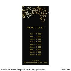 Shop Black and Yellow list price Rack Card created by Naokko. Create Your Own Card, Create Yourself, Rack Card, Price List, Promote Your Business, Nail Spa, Wedding Programs, Nursery Wall Art, Black N Yellow