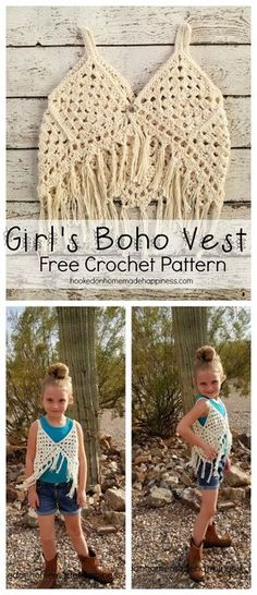 My oldest LOVED this Boho Vest that I made her. It's cute, fun, sparkly, and fringe-y. It's hard to see in the picture, but the yarn I used has metallic threads that sparkle just a bit. It's such a cute accessory. I think it would be adorable layered with a sundress. Want to make an adult version? I've got you covered! Check out my pattern here: Boho Tank Top Crochet Pattern This pattern is available as an inexpensive, clearly formatted, PDF instant download HERE in my Etsy shop. PATTERN…