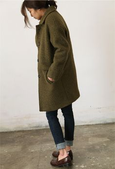 loafers // rolled skinnies // woolen coat