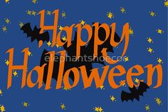 Happy Halloween in the Night Sky with Bats by elephantshoecor   Redbubble Bat Images, Ipad Art, Greeting Cards Handmade, Bats, Night Skies, Top Artists, Happy Halloween, Hand Lettering, Cool Designs