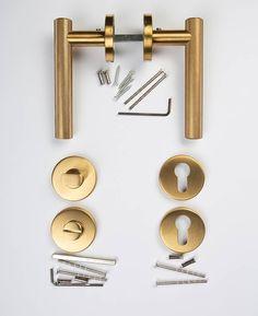 Hirst-door-handle,-thumb-lock-&-escutcheon-flatlay Internal Door Handles, Internal Doors, Door Fittings, Light Fittings, Modern Door, Hirst, Metal, Safety