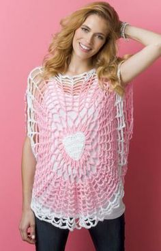 Lighthearted Tunic Free Crochet Pattern from Red Heart Yarns. Im thinking a skull instead of a heart!!!!