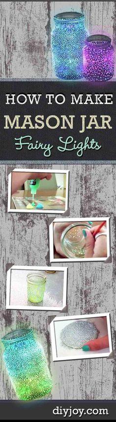 Fairy Light Bedroom Decor Ideas for Girls | DIY Mason Jar Fairy Lights by DIY Ready at http://diyready.com/easy-teen-room-decor-ideas-for-girls/ kids diy, kids crafts #kids #diy #DIY