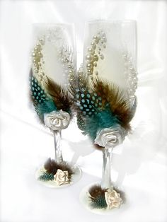 Wedding champagne glasses with feathers roses and by PureBeautyArt, $56.00