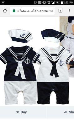 51ee6bd6c244d Cute Sailor Costume for Baby Boy Suit 2 Piece Kid Set Infantil Romper  Bodysuit + Cap Newborn Infant Clothes Bebe Clothing Wear