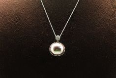 1pcsjen-0086viw  handmade necklace with cz and shell pearl by 3yes