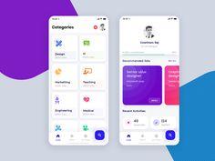Job Portal App by Gowtham on Dribbble Mobile App Design, Android App Design, Android Ui, Mobile App Ui, App Ui Design, Interface Design, Flat Design, Job Freelance, Dashboard App