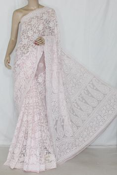 Baby Pink Hand Embroidered Lucknowi Chikankari Saree (With Blouse - Georgette) Allover Tepchi Work 14584 Kurta Designs, Saree Blouse Designs, Blouse Patterns, Indian Beauty Saree, Indian Sarees, Indian Dresses, Indian Outfits, Baby Pink Saree, Cutwork Saree