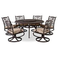 • Rest resistant aluminum<br>• Weather resistant cushions resist fading<br>• Compatible with the Threshold Round Table Set Cover<br><br>Take outdoor living to the next level with this Folwell 7-Piece Cast-Aluminum Patio Dining Set from Threshold. The patio chairs swivel and rock and feature unique ornate styling. Includes a table, 6 chairs and chair cushions.