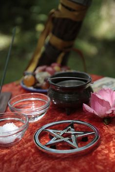 Wiccan Litha Altar on burnt orange (crushed velvet)? Pagan Altar, Sabbats, Book Of Shadows, Witchcraft, Spirituality, Crystals, Summer Solstice, Altars, Witch Herbs