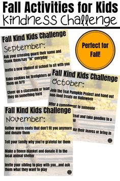 Fall activities for kids wouldn't be complete without a kindness activity.these fall kindness activities are perfect for September, October and November to encourage more kindness. Fall Preschool Activities, Kindness Activities, Senior Activities, Spring Activities, Remembering September 11th, November, Books About Kindness, Kindness Challenge, Tricky Questions