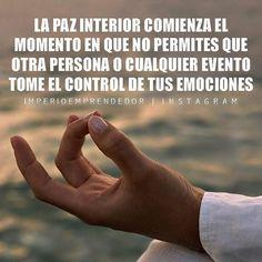 ... La paz interior comienza el momento en que no permites que otra persona o cualquier evento tome el control de tus emociones.