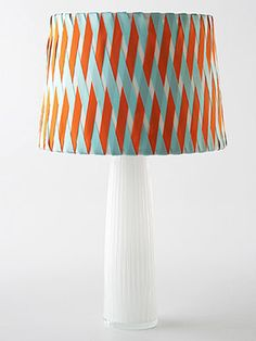 crisscross lampshade made with ribbons and hot glue!